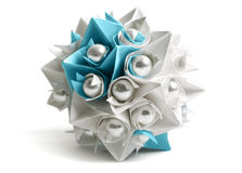 Paper origami ball with pearl, decor element Royalty Free Stock Image