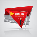 Paper origami banner with business man. Vector illustration. Can use for promotion advertising on printing and website Stock Photos