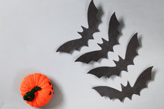 Paper origami bats, decorations for the holiday Halloween Stock Photo