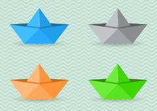 Paper origami boats Royalty Free Stock Photography