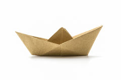 Paper origami brown boat . Stock Photos