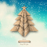 Paper origami christmas tree on abstract sky Stock Images