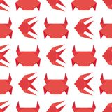 Paper origami crab vector flat illustration fresh seafood background seamless pattern red marine life animal character. Paper origami crab vector flat Royalty Free Stock Images
