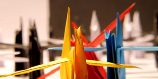 Paper origami cranes Royalty Free Stock Images