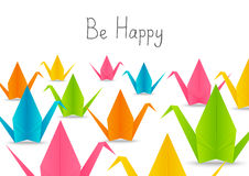 Paper origami cranes Stock Photography