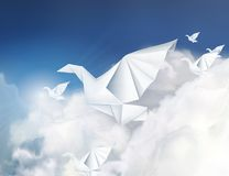 Paper origami doves in the clouds stock illustration