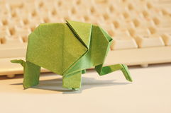Paper origami elephant Stock Photo