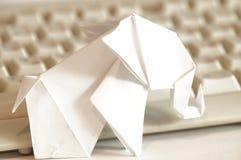 Paper origami elephant Stock Photography