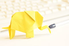 Paper origami elephant Stock Photos