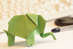 Paper origami elephant Stock Images