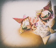 Paper origami flowers tulips vintage vignetting Royalty Free Stock Photos