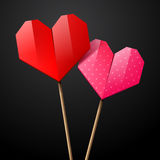 Paper origami hearts Stock Image
