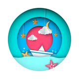 Paper origami illustration. Ship, cloud, star, moon. Paper origami illustration. Ship, cloud, star moon Vector eps 10 Stock Photography