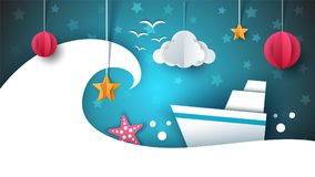 Paper origami illustration. Ship, cloud, star, moon. Paper origami illustration. Ship, cloud, star moon Vector eps 10 Royalty Free Stock Photography