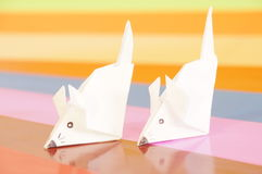 Paper origami mouse Royalty Free Stock Images
