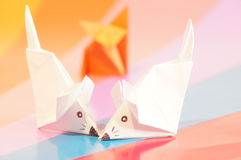 Paper origami mouse Stock Photo