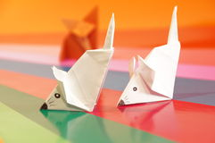 Paper origami mouse Stock Photography