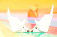 Paper origami mouse Stock Images