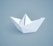 Paper origami ship. Handmade toy Stock Images