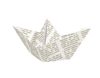 Paper origami ship. Handmade toy Stock Photography