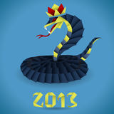 Paper Origami Snake with 2013 Year Stock Photography