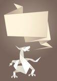 Paper origami speech bubble. Dragon Royalty Free Illustration