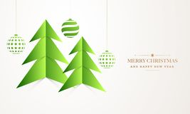 Paper origami of xmas tree with hanging baubles on white background for Merry Christmas and Happy New Year greeting card design. stock illustration