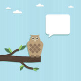 Paper owl speech Stock Image