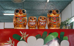 Paper owls, artworks of handicraft Royalty Free Stock Image
