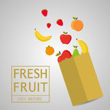 Paper package with fresh healthy produce.Fresh Fruit 100% Nature. Banana,Apple,Orange,Strawberry. Vector flat design illustration royalty free illustration