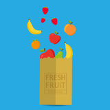 Paper package with fresh healthy produce.Fresh Fruit 100% Nature. Banana,Apple,Orange,Strawberry. Vector flat design illustration vector illustration
