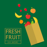 Paper package with fresh healthy produce.Fresh Fruit 100% Nature. Banana,Apple,Orange,Strawberry. Vector flat design illustration stock illustration
