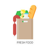Paper package with fresh produce. Vector flat design illustration Stock Photo