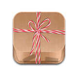 Paper package tied up with strings. Icon of paper package tied up with strings can used for ios app Stock Images