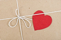 Paper package with valentine card Stock Photography