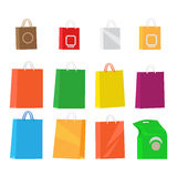 Paper Packages for Shopping Collection on White. Paper packages for shopping isolated collection on white. Big and small colourful design merchandise packages Stock Image