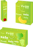 Paper packets with fruit sale design. Green three paper packets with fruit sale design Stock Photography