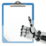 Paper pad holder and robotic arm Royalty Free Stock Photos