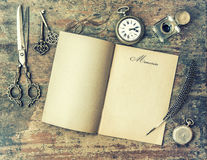 Paper page and vintage writing tools. Memories. Retro style Stock Photos