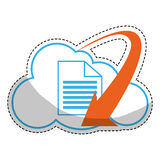 Paper pages with download arrow. Sticker of cloud with document pages with download arrow icon over white background. colorful desing. vector illustration Stock Image