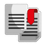 Paper pages with download arrow. Sticker of document pages with download arrow icon over white background. colorful desing. vector illustration Stock Images