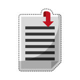 Paper pages with download arrow. Sticker of document pages with download arrow icon over white background. colorful desing. vector illustration Royalty Free Stock Photography