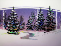 Paper with painted fir trees. White paper with painted fir trees, can use as card for Christmas or New Year Royalty Free Stock Photo