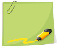 A paper with a paper clip and a coloring pen Royalty Free Stock Photos