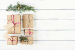 Paper parcels wrapped tied with tags Royalty Free Stock Photo