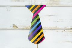Paper Party Accessory. Colorful Paper tie. Party accessory stock photo