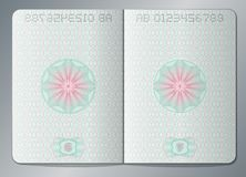Paper passport open blank pages vector template. Passport page paper with watermark illustration royalty free illustration