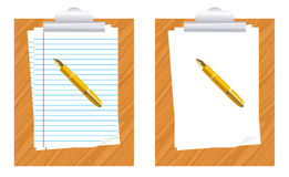 Paper and pen. Pad with in blank paper and pen Stock Image