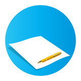 Paper and pen. Illustration of blank paper and pen Stock Photography