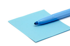 Paper and pen blue Stock Images